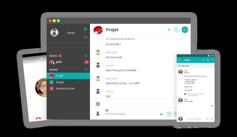 Screenshots du logiciel Watcha mobile et ordinateur